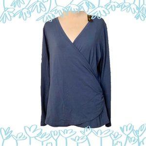 L.L.Bean Blue Wrap Blouse Size Medium NWT